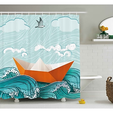 East Urban Home Paper Sail Ship Shower Curtain; 69'' H x 84'' W