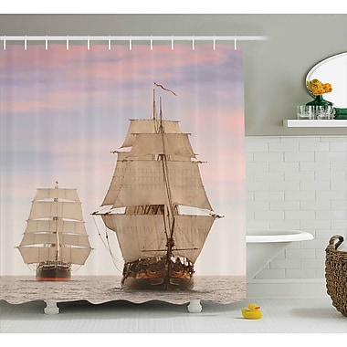 East Urban Home Wooden Sailing Ships Shower Curtain; 69'' H x 70'' W