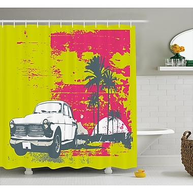 East Urban Home Vintage Car Shower Curtain; 69'' H x 70'' W