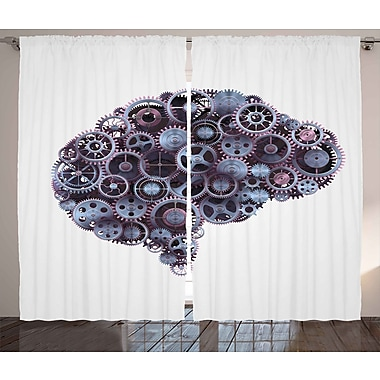 Mechanic Wheel Brain Graphic Print Room Darkening Rod Pocket Curtain Panels (Set of 2)