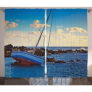 East Urban Home Yacht D cor Graphic Print Room Darkening Rod Pocket Curtain Panels (Set of 2)