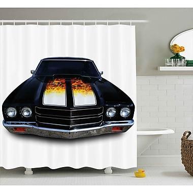 East Urban Home Car w/ Fire Shower Curtain; 69'' H x 70'' W