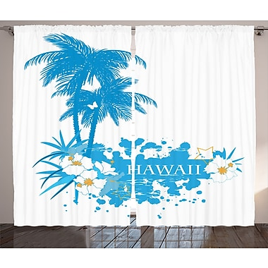 East Urban Home Palm Plants Graphic Print Room Darkening Rod Pocket Curtain Panels (Set of 2)