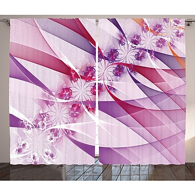 Flowers in Swirling Lines Abstract Room Darkening Rod Pocket Curtain Panels (Set of 2)