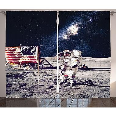 Spaceman on Moon D cor Graphic Print Room Darkening Rod Pocket Curtain Panels (Set of 2)