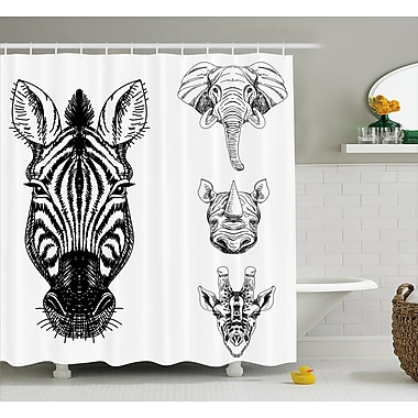 East Urban Home African Wildlife Shower Curtain; 69'' H x 75'' W