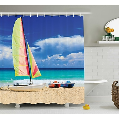East Urban Home Boat and Waves Decor Shower Curtain; 69'' H x 75'' W