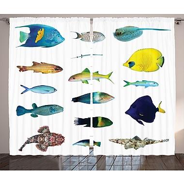 East Urban Home Marine Life Decor Wildlife Room Darkening Rod Pocket Curtain Panels (Set of 2)