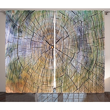 Growth Rings Rustic Home Decor Graphic Print Room Darkening Rod Pocket Curtain Panels (Set of 2)