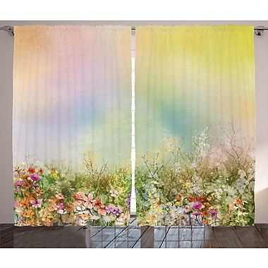 East Urban Home Wildflower Room Darkening Rod Pocket Curtain Panels (Set of 2); 54'' x 90''