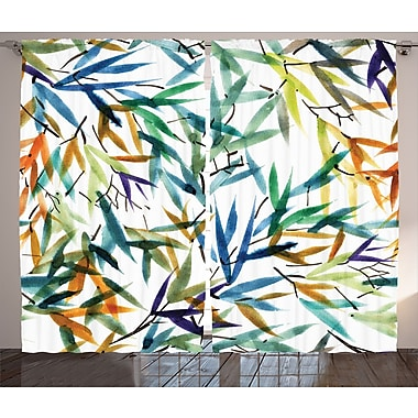East Urban Home Bamboo Leaves Graphic Print Room Darkening Rod Pocket Curtain Panels (Set of 2)