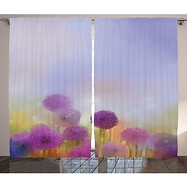 East Urban Home Floral Room Darkening Rod Pocket Curtain Panels (Set of 2); 54'' x 84''