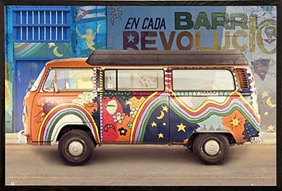 East Urban Home 'VW Camper Cuba' Wood Framed Graphic Art Print Poster