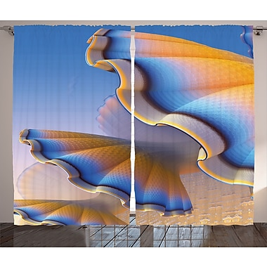 East Urban Home Trippy Gradient Shell Abstract Room Darkening Rod Pocket Curtain Panels (Set of 2)