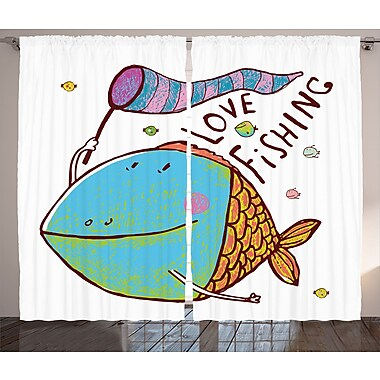 East Urban Home Love Fishing Decor Wildlife Room Darkening Rod Pocket Curtain Panels (Set of 2)