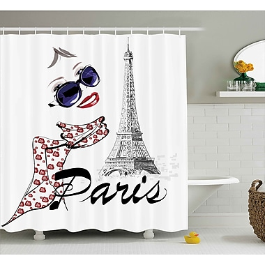 East Urban Home Woman and Eiffel Tower Shower Curtain; 69'' H x 75'' W