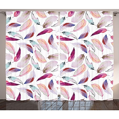 East Urban Home Mix Feather Decor Graphic Print Room Darkening Rod Pocket Curtain Panels (Set of 2)