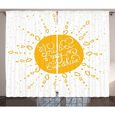 Rounded Sun Quotes Decor Graphic Print and Text Room Darkening Rod Pocket Curtain Panels (Set of 2)