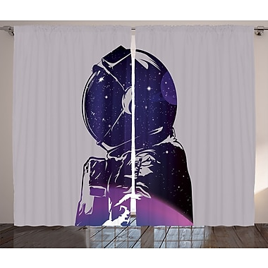 East Urban Home Cosmonaut D cor Graphic Print Room Darkening Rod Pocket Curtain Panels (Set of 2)
