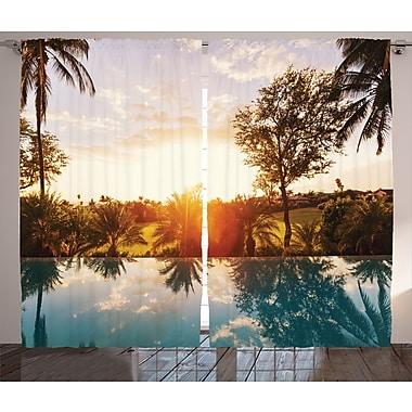 East Urban Home Sunset Tropics Graphic Print Room Darkening Rod Pocket Curtain Panels (Set of 2)