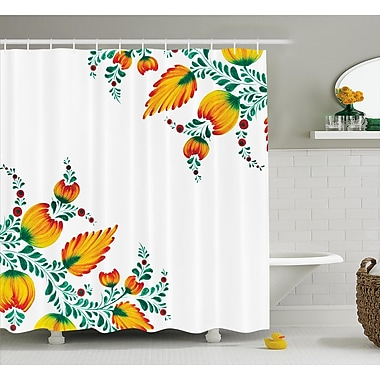 East Urban Home Japanese Watercolor Flower Decor Shower Curtain; 69'' H x 75'' W