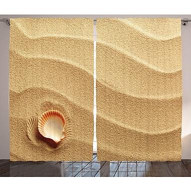 Little Seashell On Golden Sand Graphic Print Room Darkening Rod Pocket Curtain Panels (Set of 2)