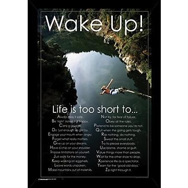 East Urban Home 'Wake Up!!' Wood Framed Textual Art Poster