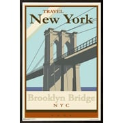 East Urban Home 'Brooklyn Bridge' Rectangle Framed Graphic Art Print Poster