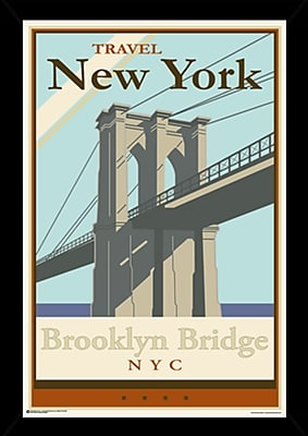 East Urban Home 'Brooklyn Bridge' Rectangular Framed Graphic Art Print Poster