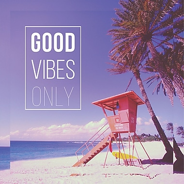 Highland Dunes 'Good Vibes Only' Graphic Art Print on Wrapped Canvas; 24'' H x 24'' W