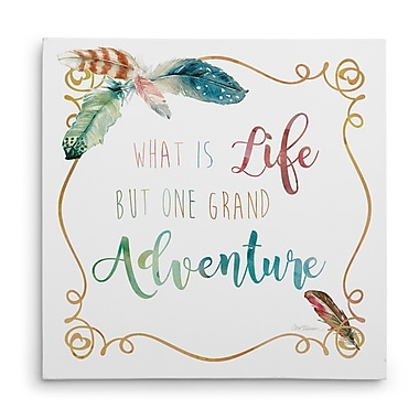 Ivy Bronx 'The Bend Feather Grand Adventure' Textual Art on Wrapped Canvas; 16'' H x 16'' W