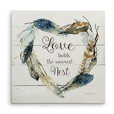 Ivy Bronx 'Feather Love Nest' Graphic Art Print on Wrapped Canvas; 16'' H x 16'' W