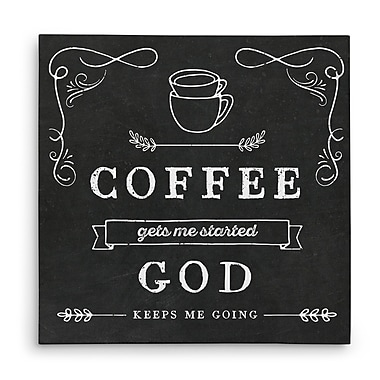 Latitude Run 'Coffee Gets Me Started' Graphic Art Print on Wrapped Canvas; 16'' H x 16'' W