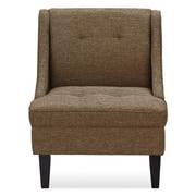 Ivy Bronx Janiyah Classic Fabric Slipper Chair; Brown
