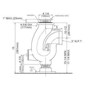 Just Manufacturing 4'' Cast Iron Construction Adjustable Trap Kitchen Sink Drain w/ Cleanout Plug