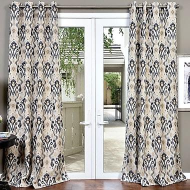 Bloomsbury Market Erica Textured Jacquard Ikat Room Darkening Grommet Single Curtain Panel
