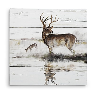 Loon Peak 'Rustic Misty Deer' Oil Painting Print on Wrapped Canvas; 16'' H x 16'' W