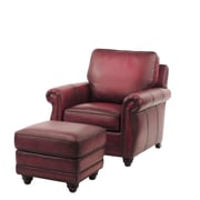Red Barrel Studio Farrier Leather Club Chair and Ottoman; Oxblood