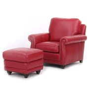 Red Barrel Studio Farrier Leather Club Chair and Ottoman; Red