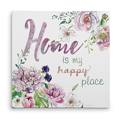 Red Barrel Studio 'Home Is My Happy Place' Graphic Art Print on Wrapped Canvas; 32'' H x 32'' W