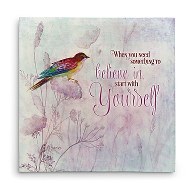 Red Barrel Studio 'Lavender Finch I' Graphic Art Print on Wrapped Canvas; 16'' H x 16'' W