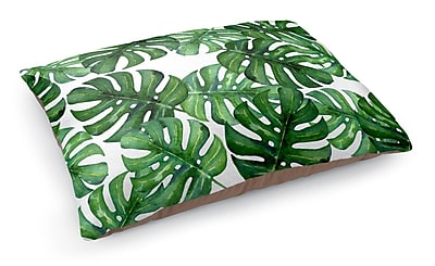 Kavka Tropical Leafs Pet Bed Pillow; Green/White