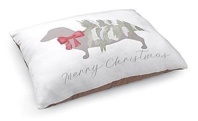 Kavka Meowy Christmas Dashound Pet Bed Pillow; White/Gray/Red