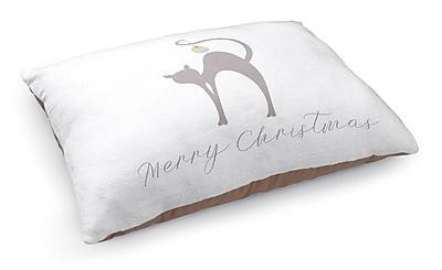 Kavka Meowy Christmas Cat Pet Bed Pillow; White/Gray