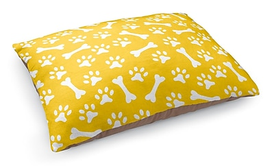 Kavka Bone Prints Pet Bed Pillow; Yellow/White