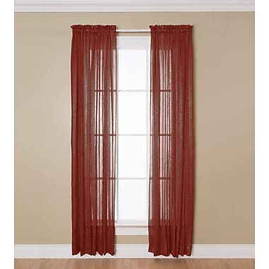 Natco Home Aria Solid Sheer Rod Pocket Single Curtain Panel; Red