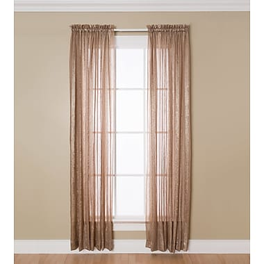 Natco Home Aria Solid Sheer Rod Pocket Single Curtain Panel; Taupe