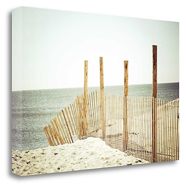 Tangletown Fine Art 'Wooden Beach Fence' Photographic Print on Wrapped Canvas; 19'' H x 28'' W