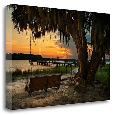 Tangletown Fine Art 'Savannah Sunset' Photographic Print on Wrapped Canvas; 32'' H x 48'' W