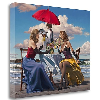 Tangletown Fine Art 'Cafe Oceanus' Graphic Art Print on Wrapped Canvas; 21'' H x 26'' W
